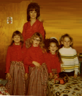 Christmas 1970 - Mom, Tammie, me, Teri & Michael. Mom made all the girls matching wrap-around skirts.
